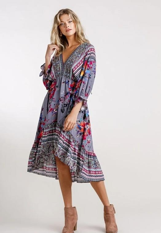 Umgee Mixed Print Hi Lo Dress - Grey Combo