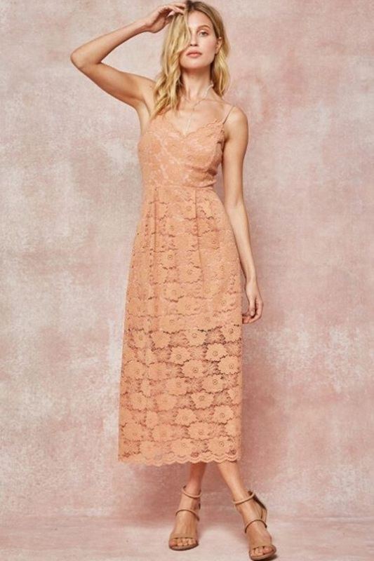 Eleganza Flower Lace Strappy Midi Dress - Mauve