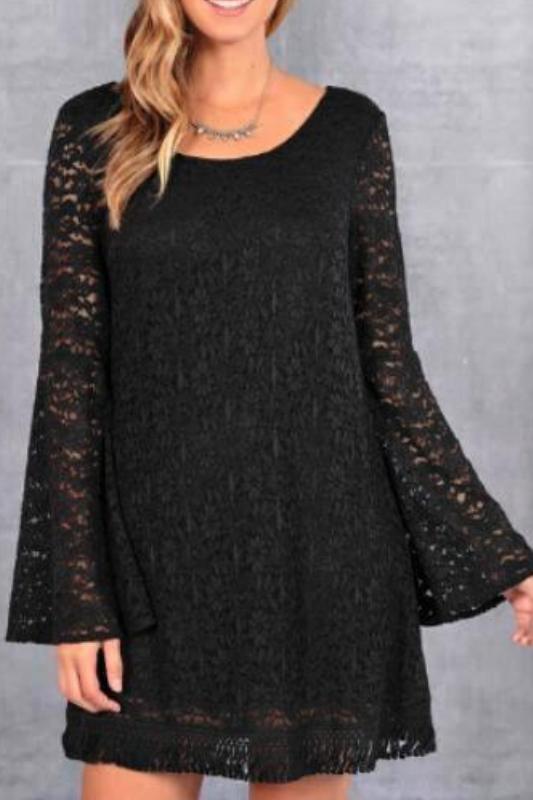 Midnight Bell Sleeve Lace Dress - Black