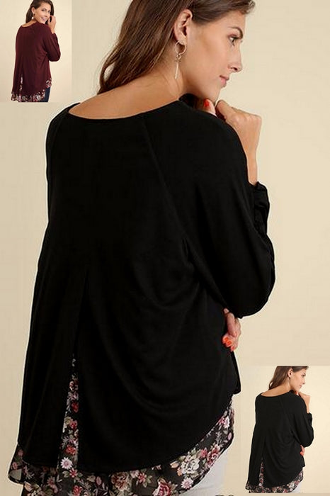 Umgee Hi Lo Contrast Split Back Top - 2 Colors