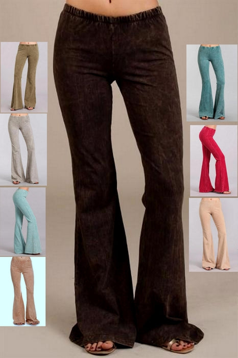 Chatoyant Mineral Wash Bell Bottom Soft Pants - 8 Colors