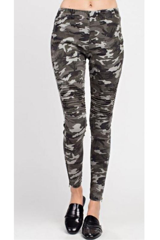 Mittoshop Moto Zipper Skinny Pants - Camo