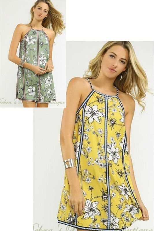 Flying Tomato Lily Halter Dress - Mustard or Olive