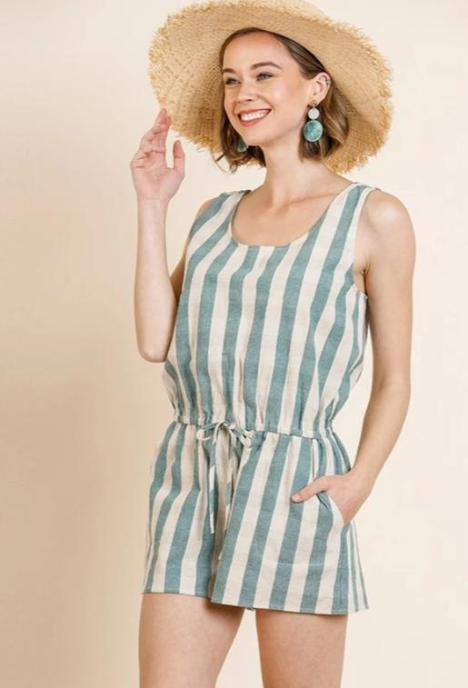 Umgee Striped Romper - Lagoon/Ivory