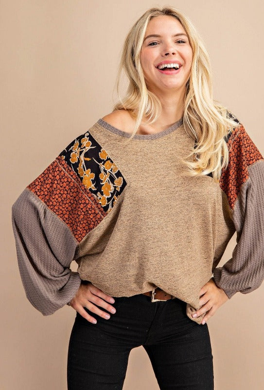Kori Mixed Fabric Bubble Sleeve Top