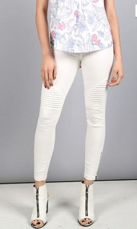Beulah Moto Zipper Legging Jegging -Off White