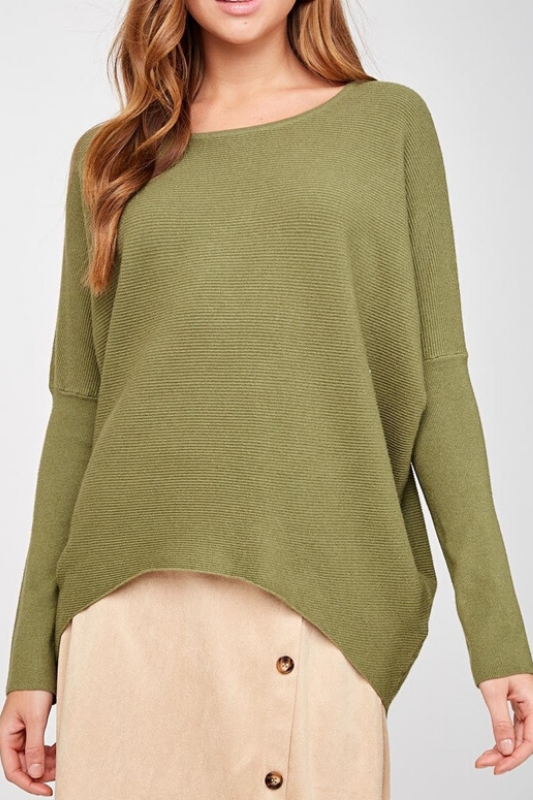 LLove Dolman Sleeve Sweater Top - Olive