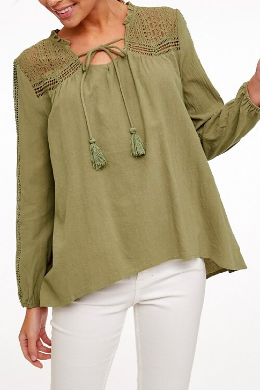 L Love Lace Accent Top - Olive