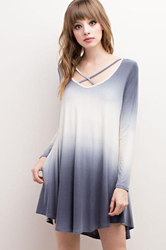 Mittoshop Ombre Dress - Blue Gray
