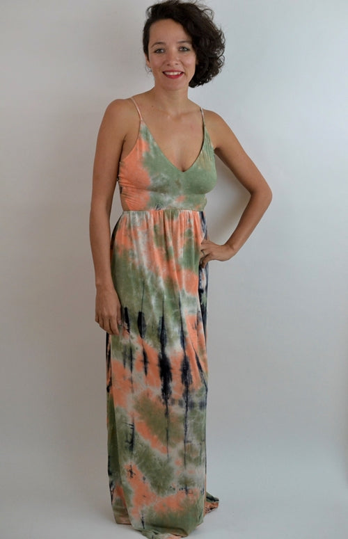 Lisbon Beachy Tie Dye Maxi Dress - Black/Orange