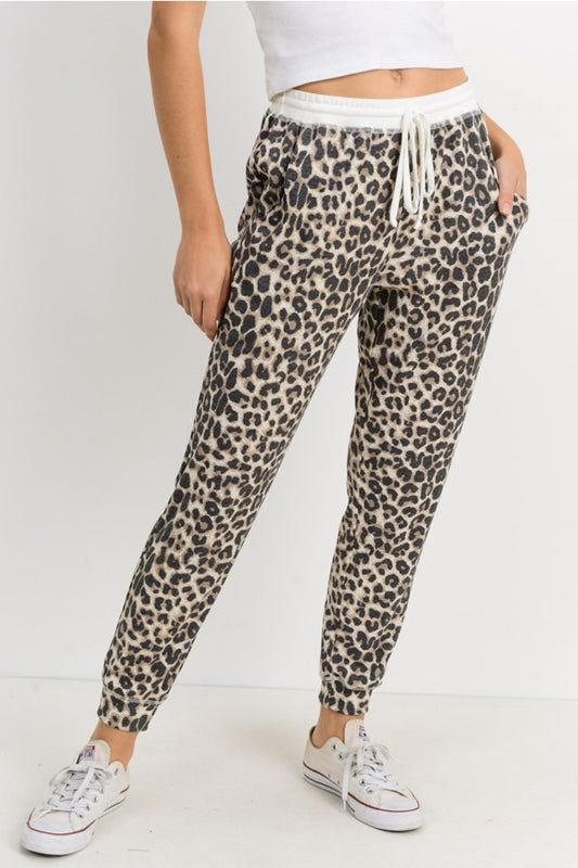 Cherish Thermal Jogger Pants Lounge - Leopard