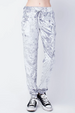 12PM by Mon Ami Crushed Velvet Jogger Lounge Pants - Grey