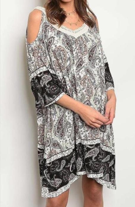 Paisley to the Max Border Cold Shoulder Dress