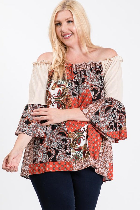 Patchwork Paisely Off Shoulder Plus Top