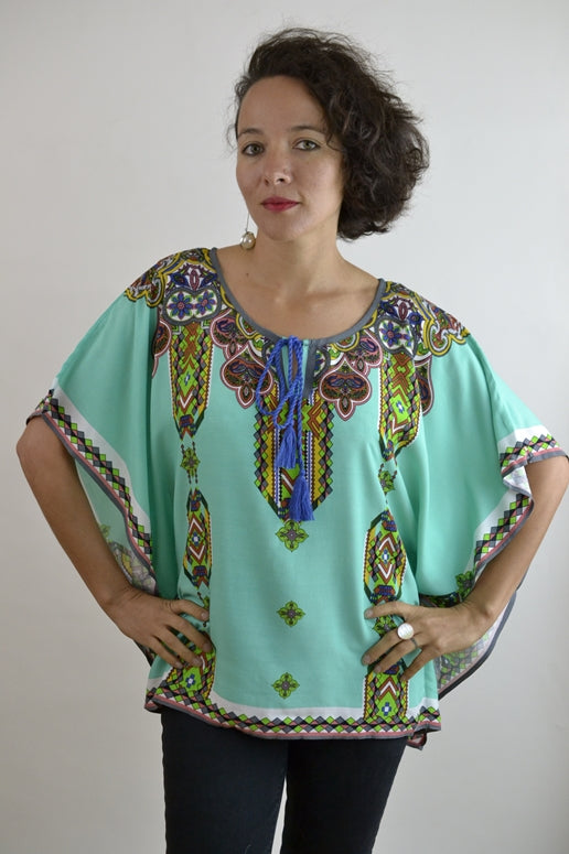 Peachpuff Collection- Bohemian Print Kaftan Top - Aqua
