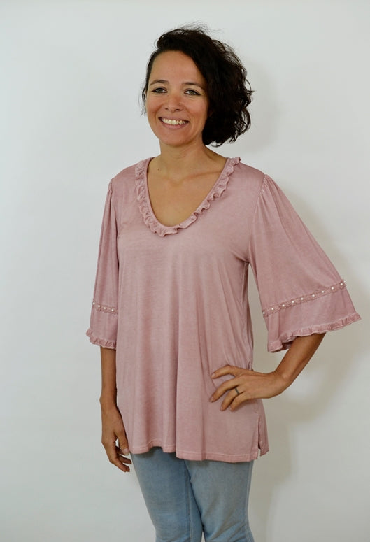 Ruffles and Pearls Blouse - Dusty Rose