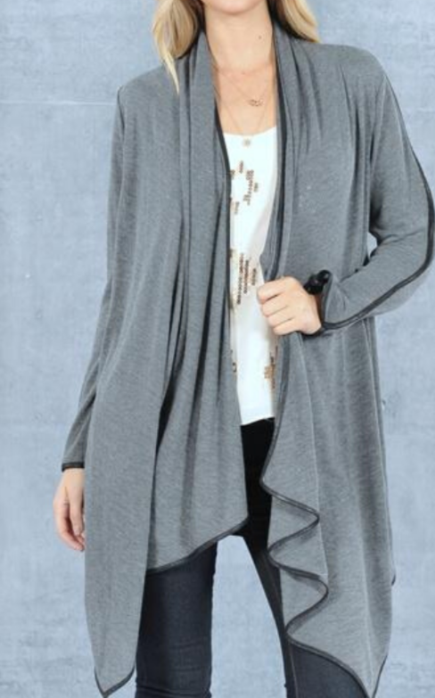 Drape Open Cardigan with Pleather Trim- Charcoal Gray