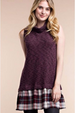 Plush Knit Plaid Hem Tunic Dress - Burgundy