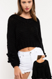 POL Onassis Heart Crop Sweater - Jet Black