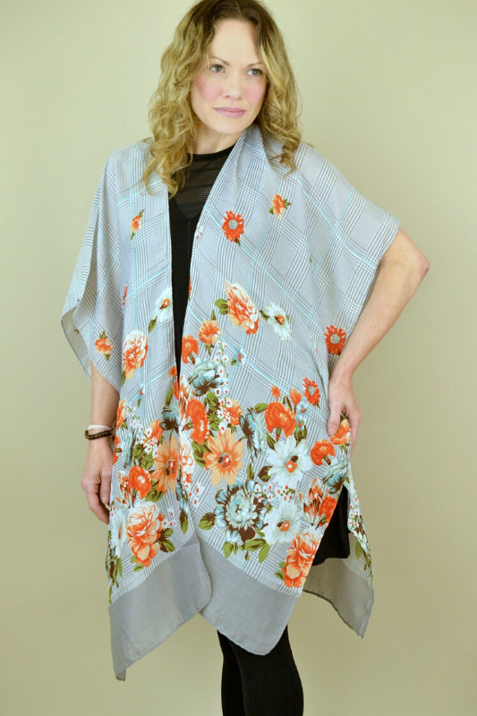 Flower Houndstooth Kimono - Gray/Orange