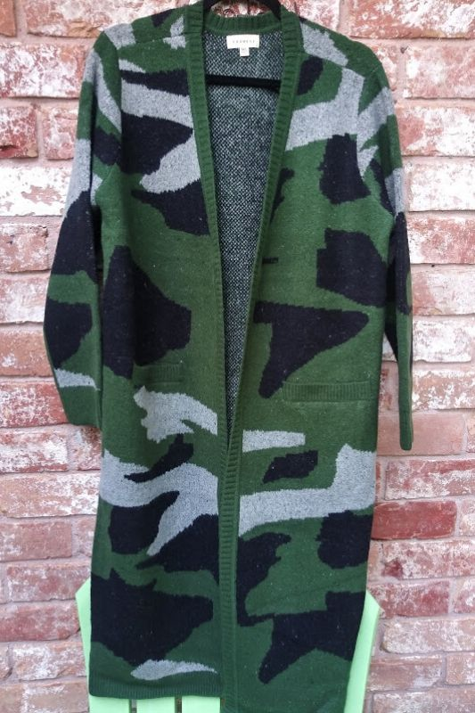 Promesa Camouflage Long Cardigan - Green
