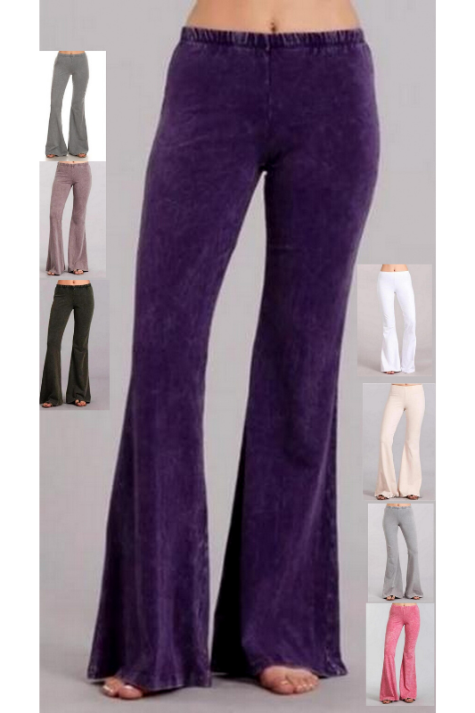 Chatoyant Mineral Wash Bell Bottom Soft Pants - 8 Lovely Colors