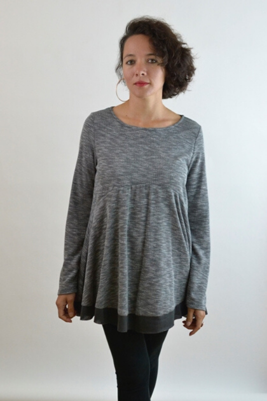Plush Knit 2 Tone Shift Tunic Top -  Gray