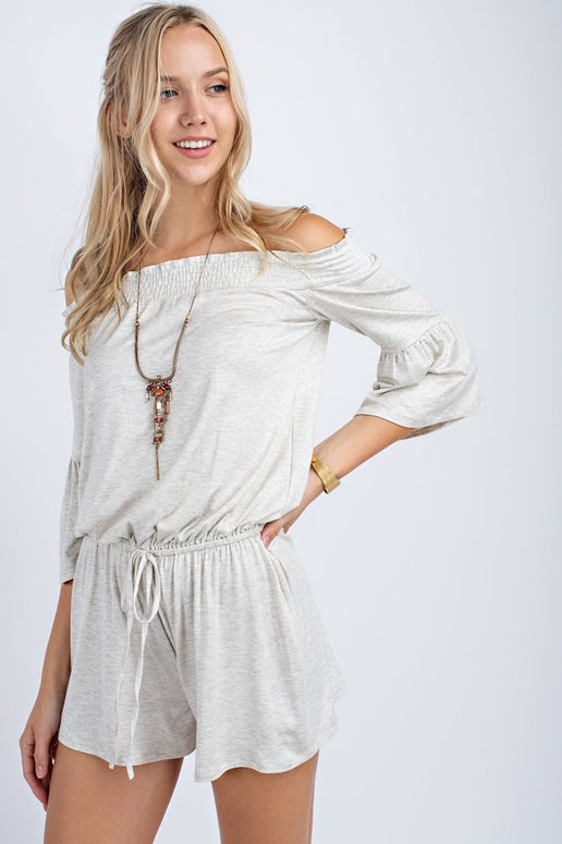 12PM by Mon Ami Off Shoulder Romper - Oatmeal