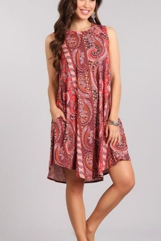 Christina Paisley Dress - Rust/Pink