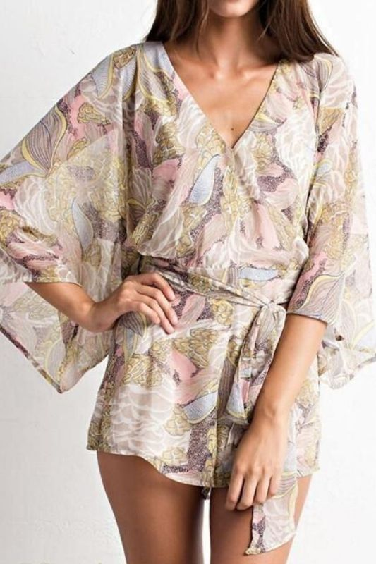 Paradise Floral Romper - Rose Taupe