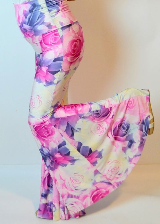Uptown Wide Bell Bottom Floral Skinny Pants