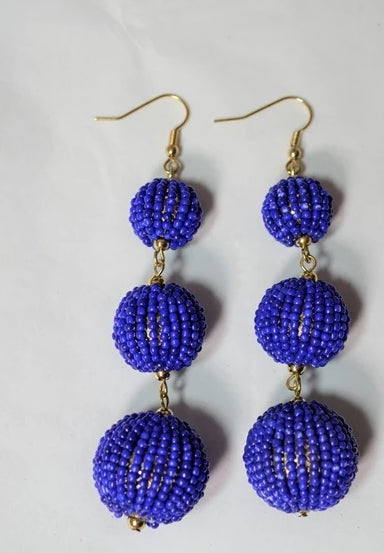 Beaded Pom Pom Ball Earrings - Royal Blue