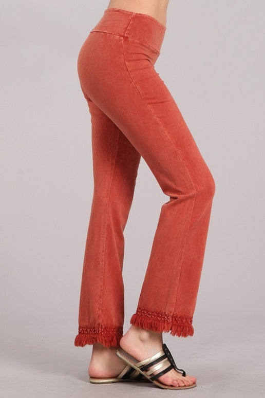 Chatoyant Ankle Fringe Hem Pants - Rust