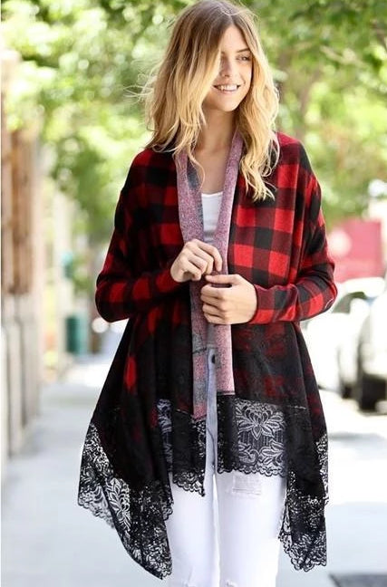Chic Plaid Long Sleeve Cardigan w/ Lace - Burgundy - Debra's Passion Boutique - 1