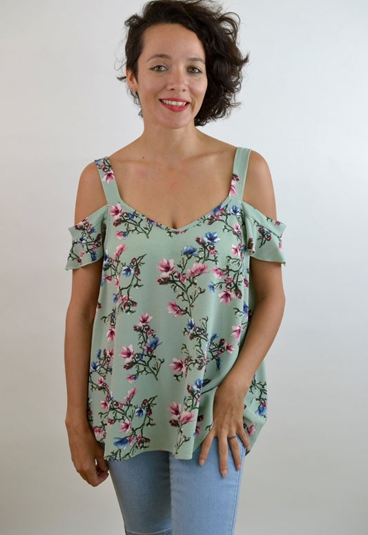 Natural Feeling Floral Top - Sage