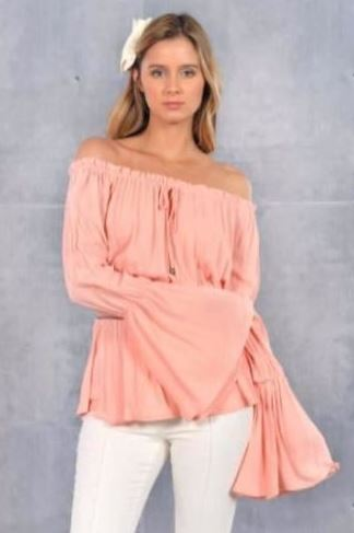 Christie Off Shoulder Bell Sleeve Peasant Top-Salmon Pink