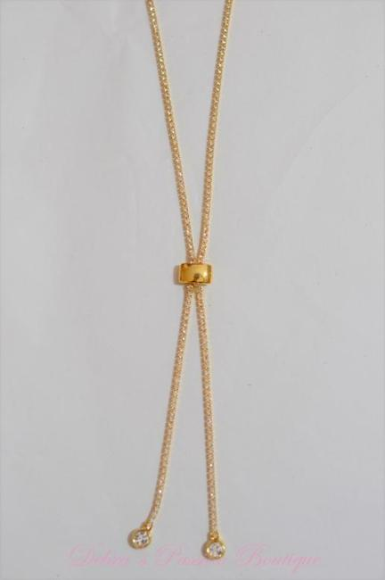 Sparkle Bright CZ Rhinestone Gold Tennis Necklace Lariat-Gold