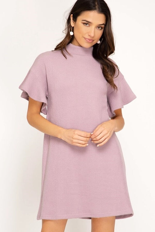 She + Sky Flounce Ribbed Mock Neck Dress -Light Mauve