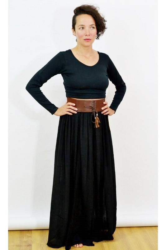 Lace Stripes Maxi Skirt with Wide Belt-Black