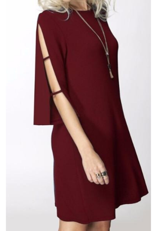 Burgundy Dress With Sleeve Cut Outs