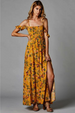 Floral Print Open Shoulder Smocked Dress - Mustard