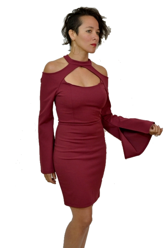 Solemio Open Shoulder Cut Out Dress - Burgundy