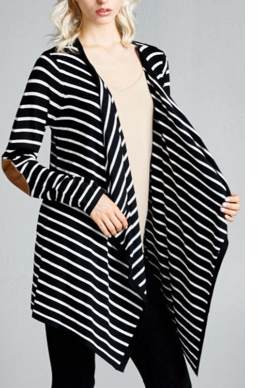 Striped Open Cardigan with Elbow Patch -  Black Ivory
