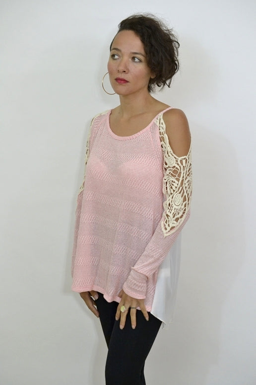 Staccato Knit Top White Contrast Back - Blush Pink