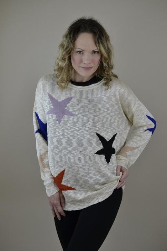 Davi & Dani  Stars Knit Sweater Top - Beige