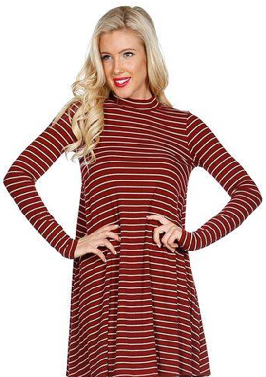 Mock Turtleneck Striped Ribbed Dress - Burgundy