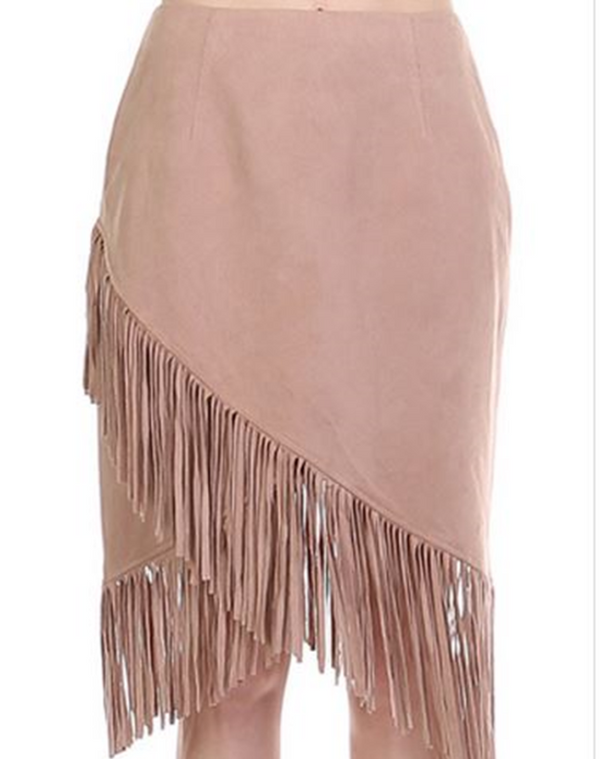 Faux Suede Fringe Skirt - Honey Punch- Rose Latte