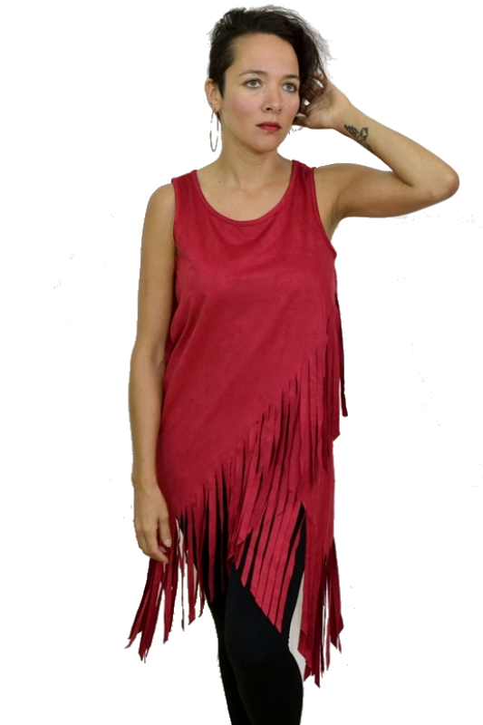 Faux Suede Hippie Fringe Top - Red