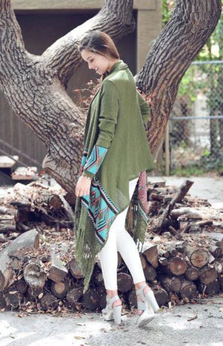 Fringe Cardigan with Pockets - Olive