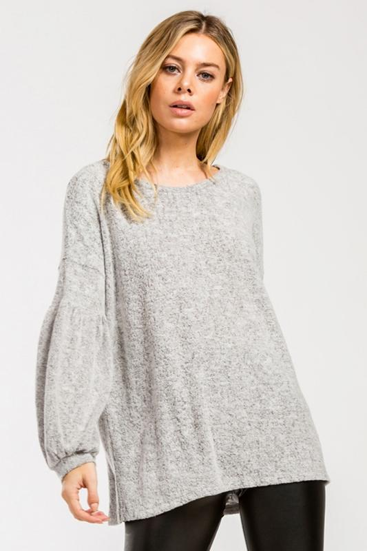 Cherish Balloon Sleeve Top - Heather Gray